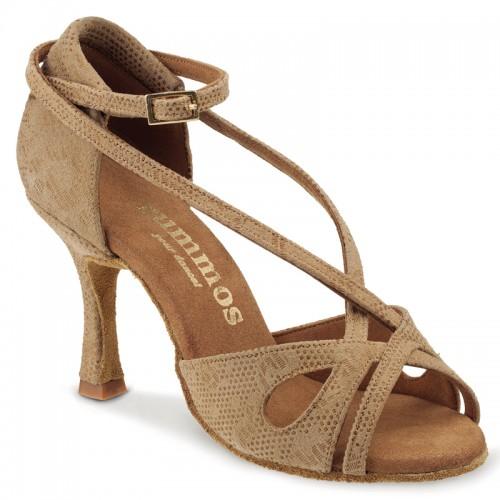 """Chaussures de danse Rummos """"Lana"""" cuir tan fleuri"""