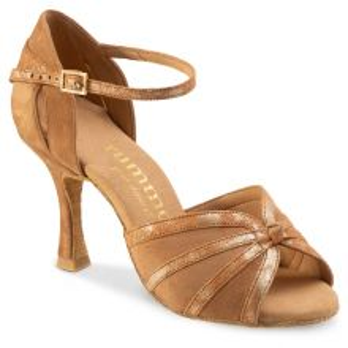 "Chaussures de danse Rummos ""Angela"" daim tan et cuir marbré or"