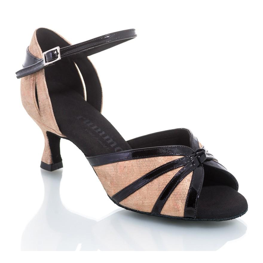 """Chaussures de danse Rummos """"Angela"""" Cuir doré imprimé fantaisie fleuri et cuir vernis noir"""
