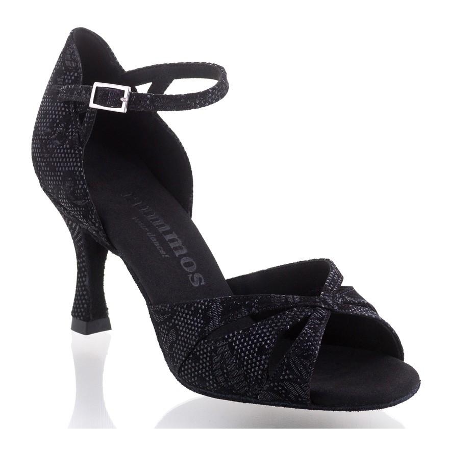 """Chaussures de danse Rummos """"Kamila"""" cuir noir fleuri"""