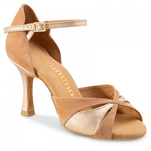 """Chaussures de danse Rummos """"Kamila"""" daim tan et cuir or"""