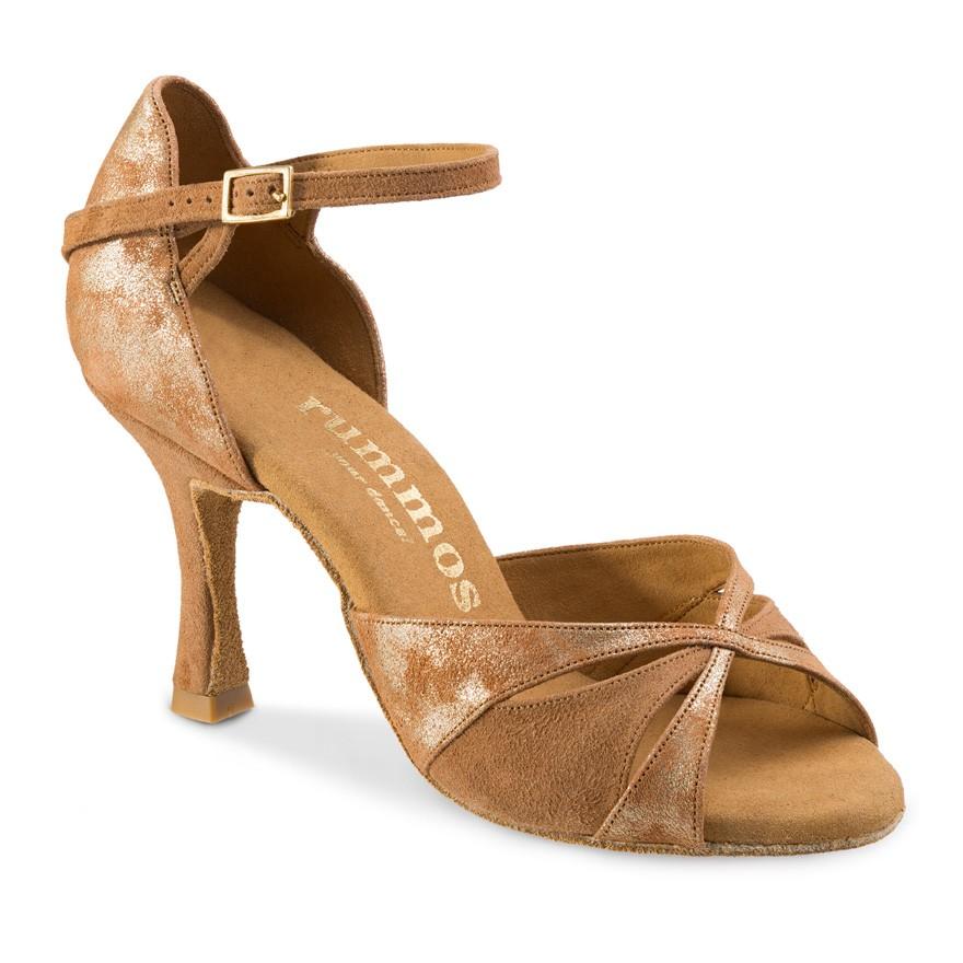 "Chaussures de danse Rummos ""Kamila"" ²nubuck tan et cuir tan marbré or"