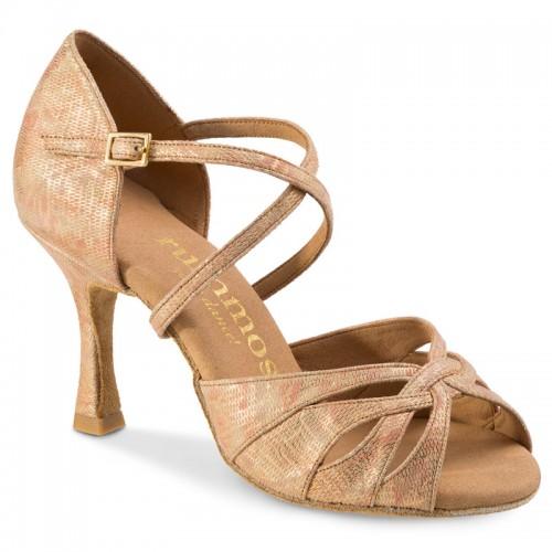 """Chaussures de danse Rummos """"Salena"""" cuir beige doré imitation peau de lézard"""