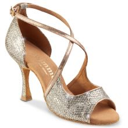"""Chaussures de danse Rummos """"Sorina"""" cuir argent imitation peau de lézard et cuir lisse or"""
