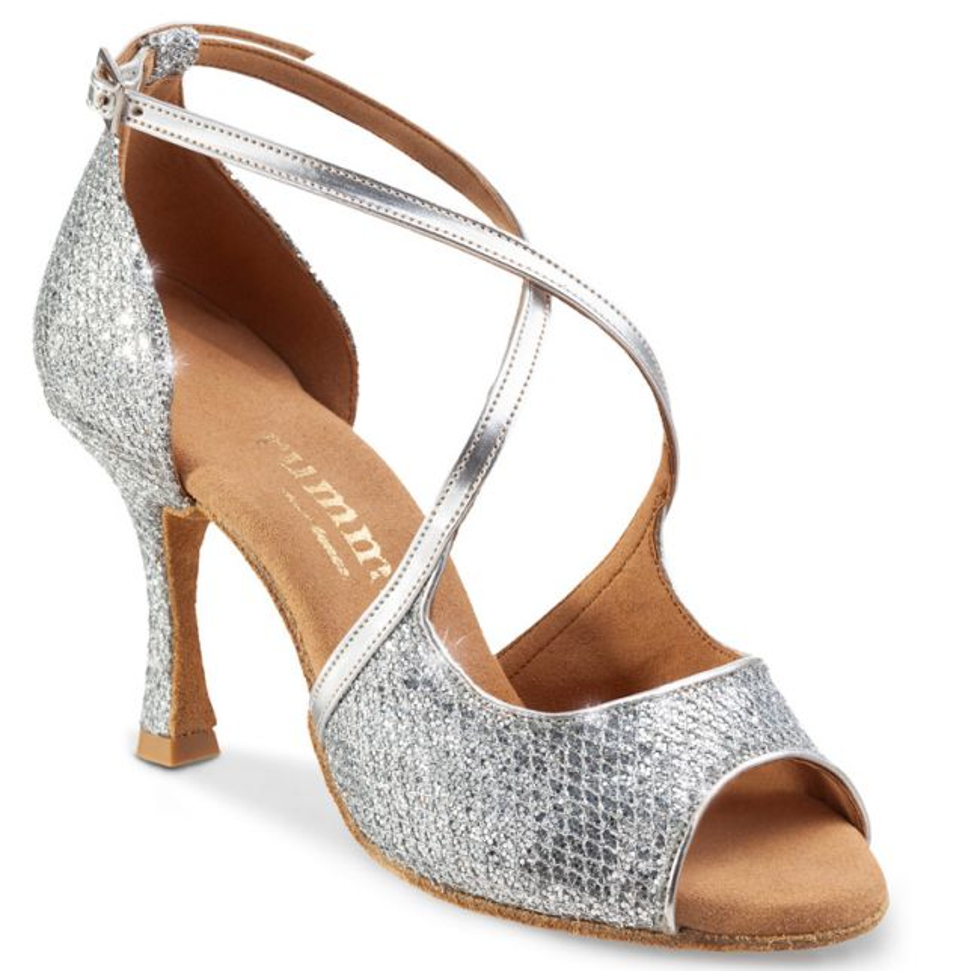 """Chaussures de danse Rummos """"Sorina"""" cuir argent imiation peau de lézard et cuir lisse argent"""