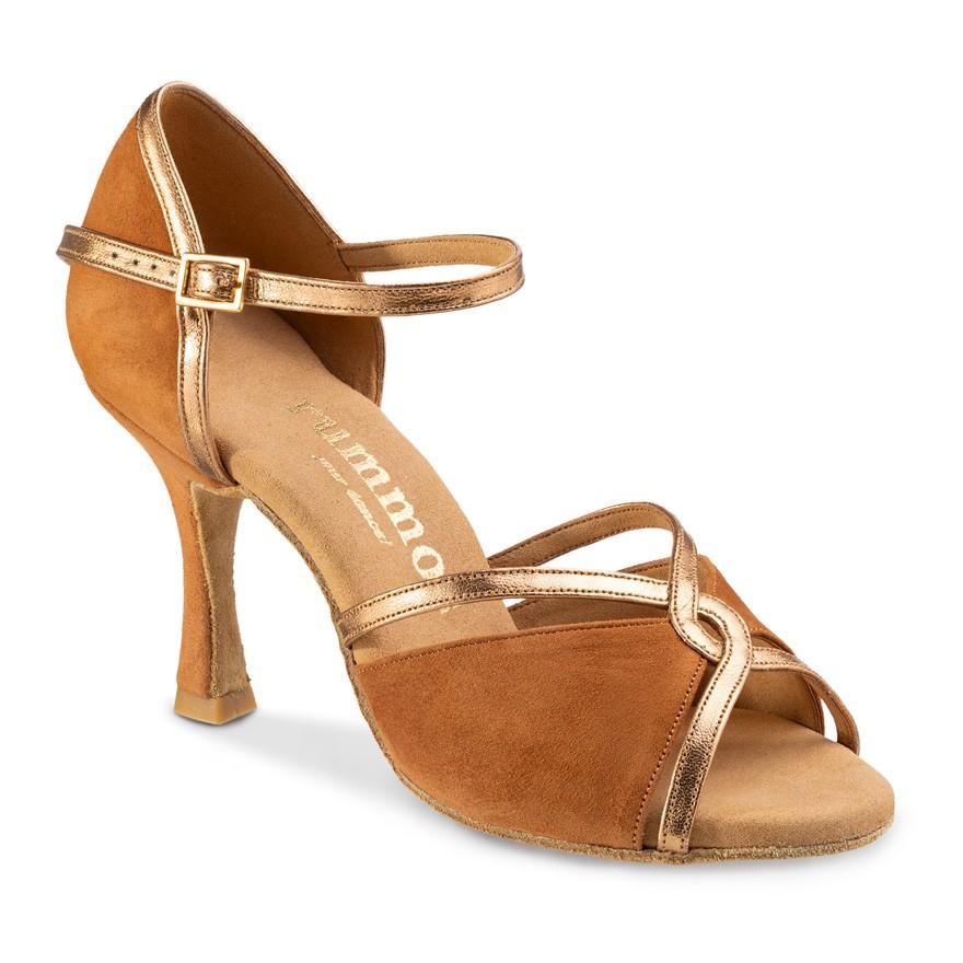 """Chaussures de danse Rummos """"Selma"""" nubuck marron et cuir lisse or"""