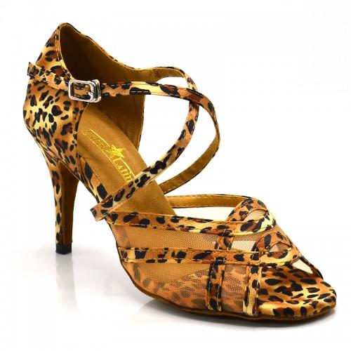 """Chaussures de danse kizomba Label Latin """" Helena"""" satin imprimé léopard et tulle"""