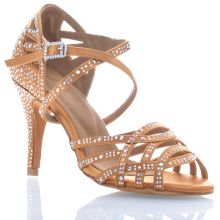 "Chaussures de danse salsa Label Latin ""Nerissa"" Satin tan et strass"