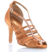 "Chaussures de danse salsa Label Latin ""Sasha"" Satin tan et strass"