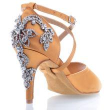 "Chaussures de danse salsa Label Latin ""Pola"" Satin tan et strass"