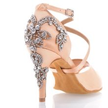"Chaussures de danse salsa Label Latin ""Pola"" Satin tan flesh et strass"