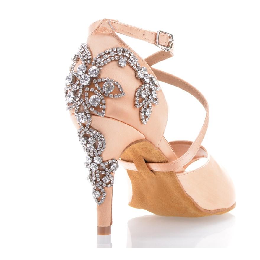"Chaussures de danse salsa Label Latin ""Pola"" Satin tan flesh et strass"