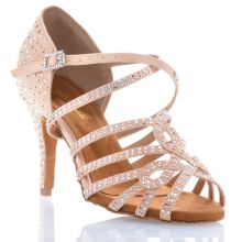 "Chaussures de danse salsa Label Latin ""Nirvana"" Satin tan flesh et strass"