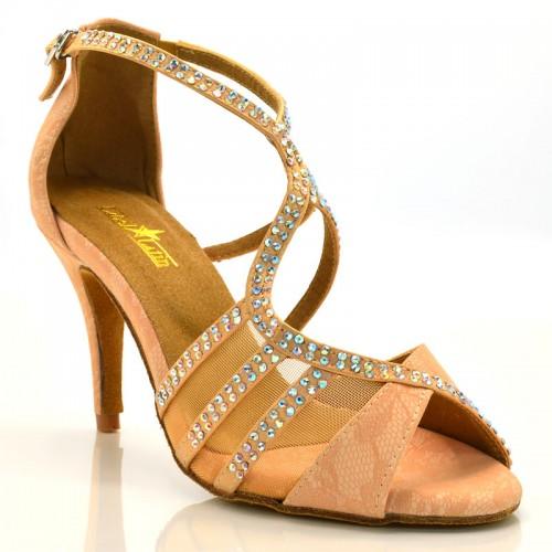 """Chaussures de danse salsa Label Latin """"Tricia"""" Simili cuir motifs floral tan flesh et strass"""