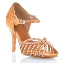 "Chaussures de danse salsa Label Latin ""Debra"" Satin tan et strass"