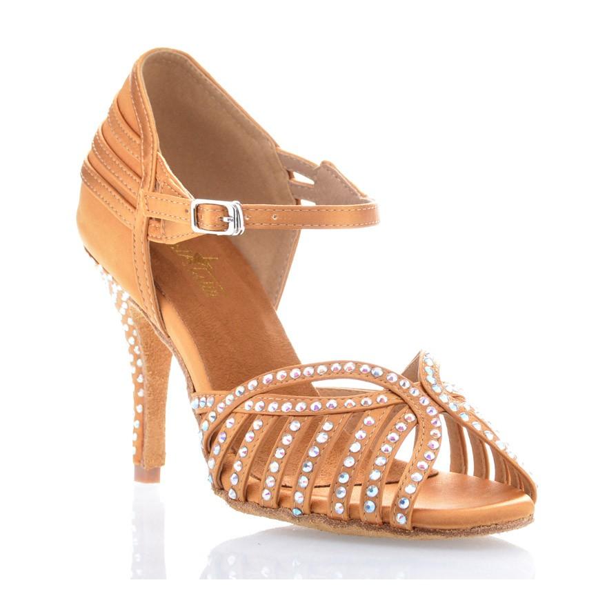 "Chaussures de danse salsa Label Latin ""Debra"" Satin tan et strass"