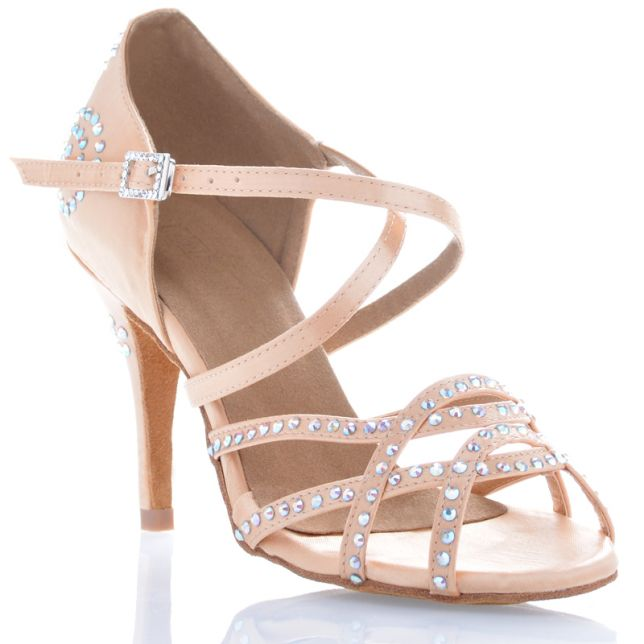 "Chaussures de danse salsa Label Latin ""Dalia"" Satin tan flesh et strass"