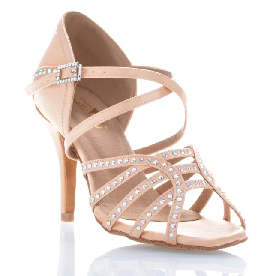 "Chaussures de danse salsa Label Latin ""Mina"" Satin tan flesh et strass"