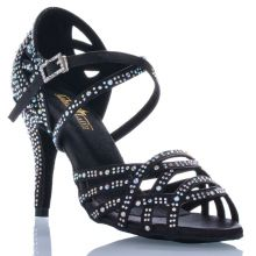 "Chaussures de danse salsa Label Latin ""Nerissa"" Satin noir et strass"