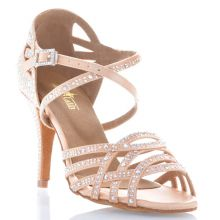 "Chaussures de danse salsa Label Latin ""Nerissa"" Satin flesh et strass"