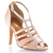 "Chaussures de danse salsa Label Latin ""Sasha"" Satin tan flesh et strass"