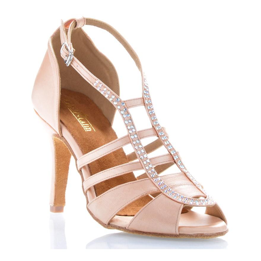 "Chaussures de danse salsa Label Latin ""Sasha"" Satin tan flesh et strass"