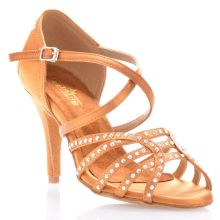"Chaussures de danse salsa Label Latin ""Mina"" Satin tan et strass"