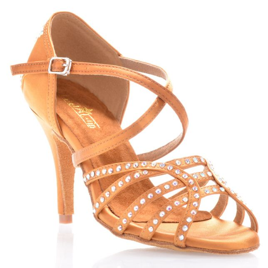"Chaussures de danse salsa Label Latin ""Mina"" Satin tan et strass"