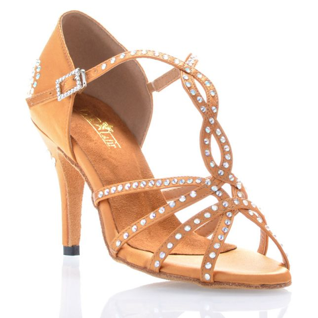 "Chaussures de danse salsa Label Latin ""Soha"" Satin tan et strass"