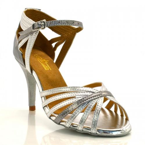 """Chaussures de danse salsa Label Latin """"Nora"""" Simili cuir argent"""