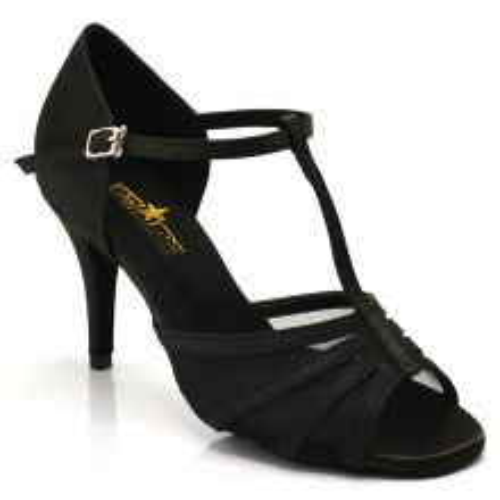 "Chaussures de danse salsa Label Latin ""Alma"" Satin noir"
