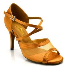 "Chaussures de danse salsa Label Latin ""Luna"" Satin tan"