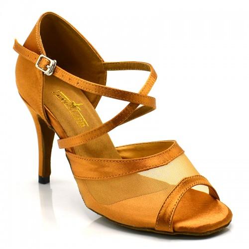 "Chaussures de danse salsa Label Latin ""Luna"" Satin tan"
