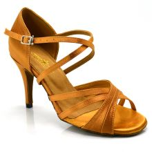 "Chaussures de danse salsa Label Latin ""Nathalia"" Satin tan"