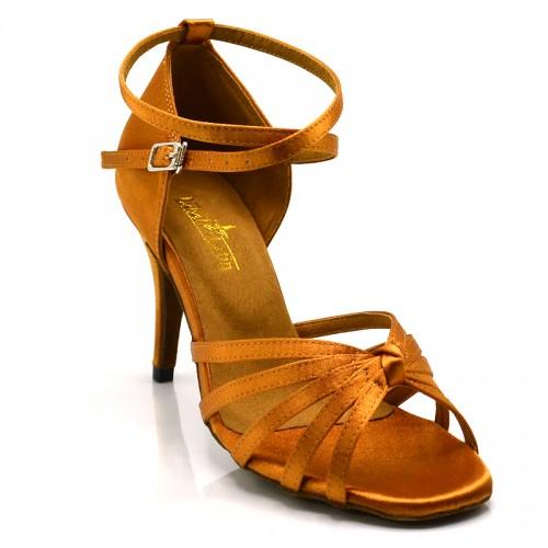 "Chaussures de danse salsa Label Latin ""On 1"" Satin tan"