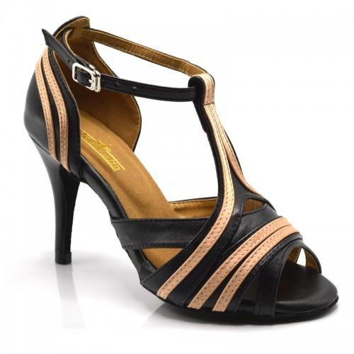 """Chaussures de danse kizomba Label Latin """" Ornella"""" simili cuir noir et satin beige"""