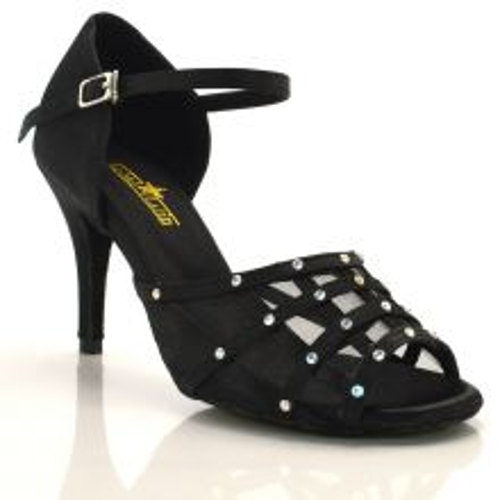"Chaussures de danse salsa Label Latin ""Vera"" Satin noir et strass"