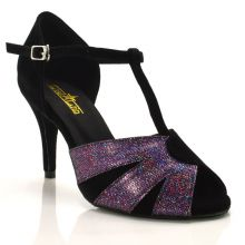 """Chaussures de danse salsa Label Latin """"Pia"""" velou noir et glitter violet"""