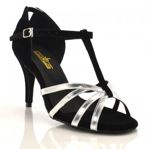 """Chaussures de danse salsa Label Latin """"Noa"""" Velours noir et cuir simili argent"""