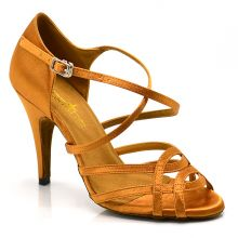 "Chaussures de danse salsa Label Latin ""Helene"" Satin tan"