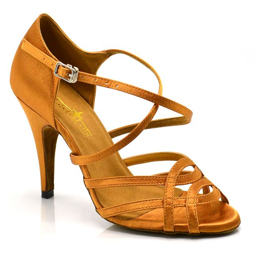 "Chaussures de danse salsa Label Latin ""Helene"" Satin tan"