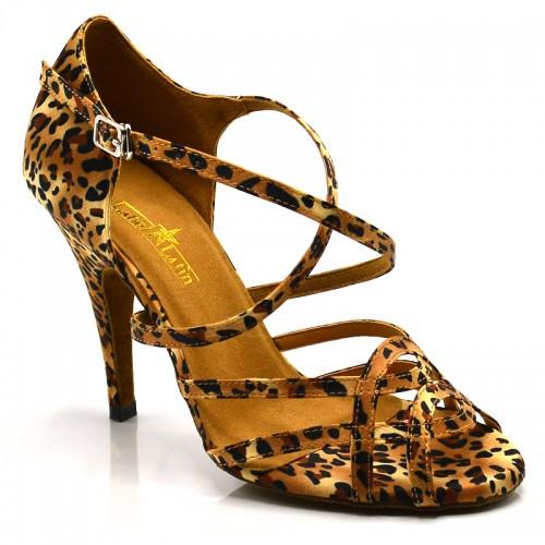 """Chaussures de danse salsa Label Latin """"Helene"""" Satin léopard"""
