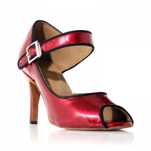 Chaussure de danse Rétro Chic Rouge foncé vernis Label Latìn