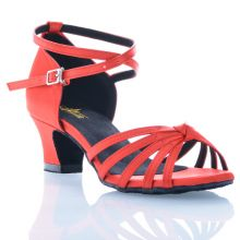 "Chaussures de danse Label Latin ""On 1"" satin rouge"