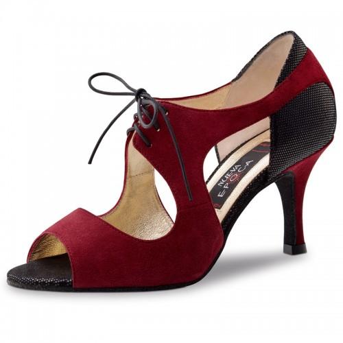 """Chaussures de danse Nueva Epoca Werner Kern """"Nesrin"""" Daim bordeaux et cuir noir imitation peau de lézard"""