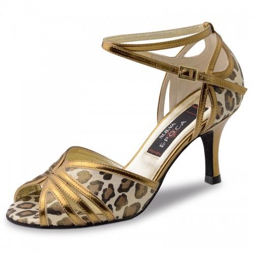"Chaussures de danse Nueva Epoca Werner Kern ""Saskia"" Cuir or et cuir motifs léopard"