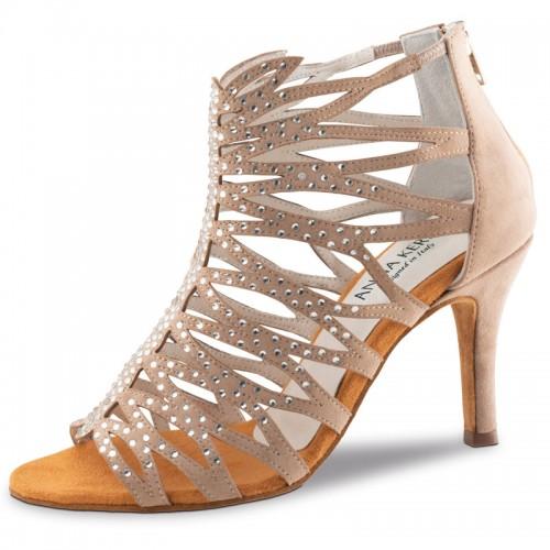 """Chaussures de danse Anna Kern """"Padma"""" 7,5 cm satin tan Flesh et strass"""