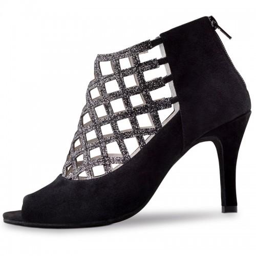 "Chaussures de danse Anna Kern ""Olga"" 7,5 cm daim noir et glitter argent"