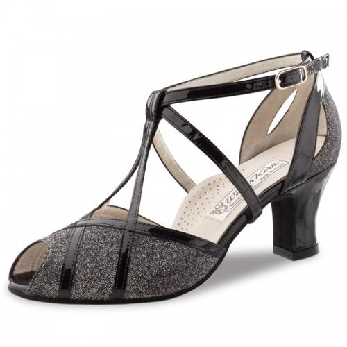 """Chaussures de danse Werner Kern """"Ginny"""" 6 cm Borca noir et argent et cuir noir vernis"""