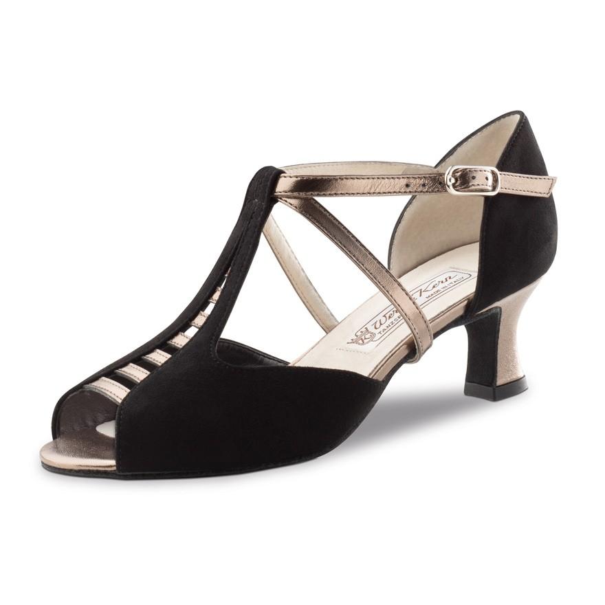 "Chaussures de danse Werner Kern ""Holly"" 5,5 cm cuir or et daim noir"